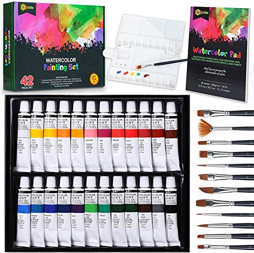 RiseBrite Watercolor Paint Set - 42 Pcs Watercolor Set with Watercolor Paints Tubes, Brushes, Watercolor Paint Paper, Premium Painting Supplies | Perfect Watercolor Set For Adults, Kids, and Beginners