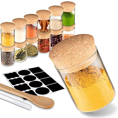 HOMELY ® Gewürzgläser Set mit Korkdeckel – 12x Gewürzbehälter [Ø5,5cm] - [100ml] Füllmenge - Inkl. Gratis Sticker, Marker & Bambuslöffel
