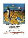 Wee Blue Coo Mount Fuji Japan Northwest Airline Vintage Advert Art Impresión del Arte 12 x 16 Pulgadas
