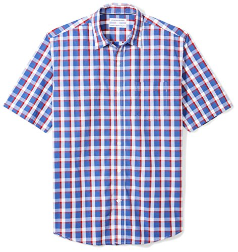 Amazon Essentials Men's Regular-Fit Short-Sleeve Casual Poplin Shirt, blue/red plaid, Large