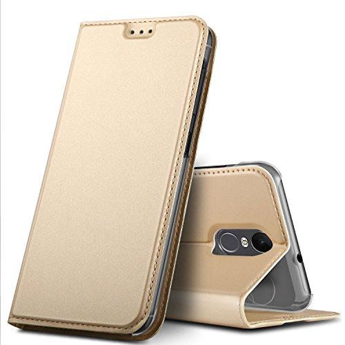 GeeMai Gigaset GS180 Hülle, Premium Gigaset GS180 Leder Hülle Flip Hülle Tasche Cover Hüllen mit Magnetverschluss [Standfunktion] Schutzhülle handyhüllen für Gigaset GS180 Smartphone, Gold