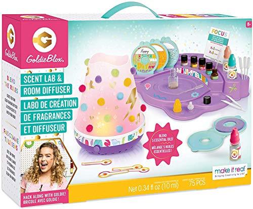 Make It Real GoldieBlox - Kit de difusor de olor para laboratorio y habitación para hacer fragancia con aceites esenciales y difusor - STEM Artes y manualidades para niños