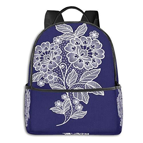 PEIGJH Mochilas Escolares Bolsa Daypack Mochila Tipo Casual para Niños y Niñas para Portátiles y Netbooks Encaje Flor Floral Crochet