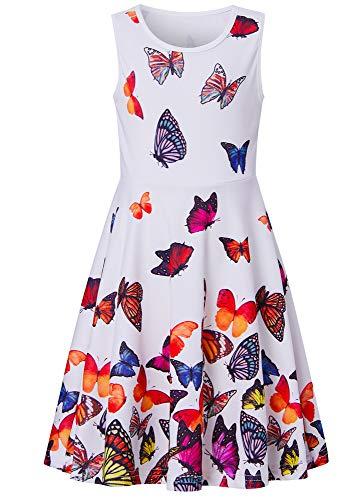 Adicreat Kinder Mädchen Kleider Schmetterling Ärmelloses Sommerkleid Niedlich A-Linie Kleid 4-5 Jahre (S)
