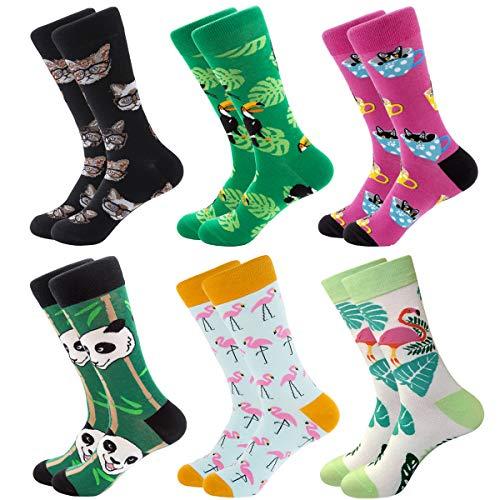 RedMaple 6 Paar Bunt Gemusterte Socken für Herren - Baumwolle Coole Neuheit Bunte Strumpf Lustige Crew Socken für Größe 39-46