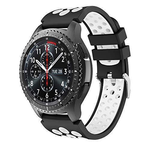 CSVK Compatibile con Cinturino Gear S3 Frontier/Classic/Galaxy Watch 46mm Cinturino, Braccialetto di Ricambio in Silicone Sportivo Cinturino per Gear S3/Moto 360 2nd Gen 46mm