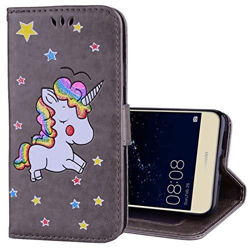 Ledertaschen Huawei Huawei p10 lite Glitter Puder Einhorn Muster horizontale flip Leder case mit...