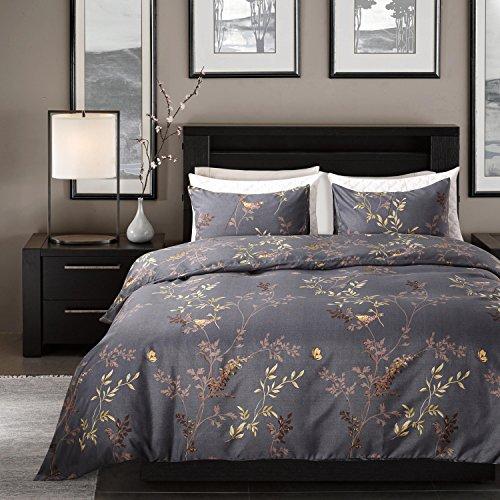 Qucover 3 teilige Bettwäsche Set aus Mikrofaser Bettbezug 200 x 200 cm mit Reißverschluss inklusive 2 Kissenbezug 80 x 80 cm Landhaus Stil Retro Schwarz