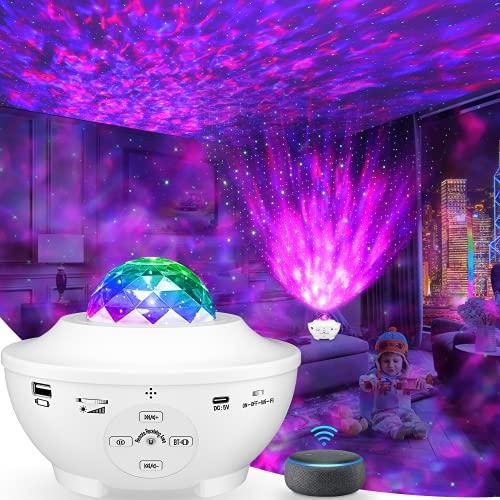 Proyector Estrellas, 4 en 1 Proyector Star, WiFi Conexión Luz Nocturna Giratorio con Alexa, Google Home, 10 Colores / Control Remoto/ Bluetooth/ Temporizador para, Fiestas, Bodas, Cumpleaños