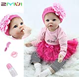 ZIYIUI 22 Zoll Lebensechtes Puppe Reborn Babys Puppen Silikon Mädchen Handgefertigt Babypuppen...