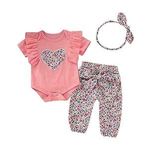 Conjunto de 3 piezas para niña con body + pantalón + diadema para la primera infancia A # Puntini Rosa 3-6 Meses