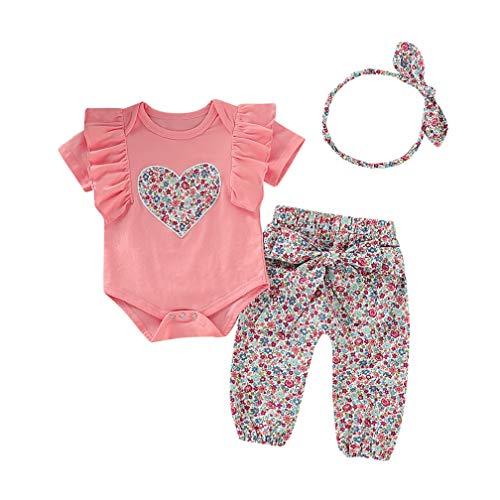 Ropa Bebe Niña Recién Nacido Niña Peleles Monos de Manga Corta + Floral Pantalones + Venda de Pelo,0-18 Meses Bebé Ropa (12-18 Meses, Rosa)