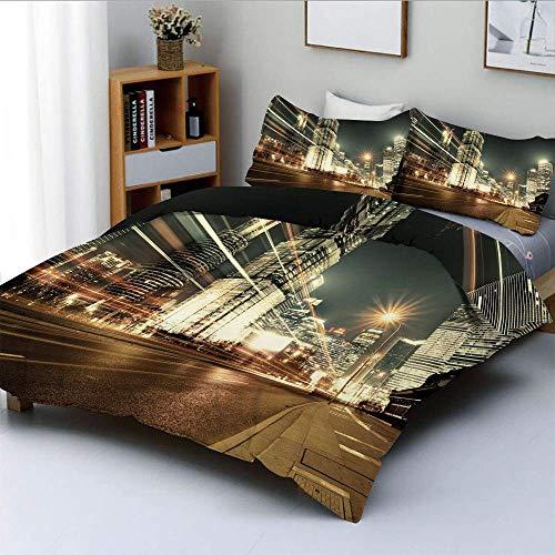 Juego de funda nórdica, Shanghai Lujiazui Zona financiera y comercial de la ciudad moderna Vista nocturna Juego de cama decorativo de 3 piezas con 2 fundas de almohada, Bronce Negro Blanco, El mejor r