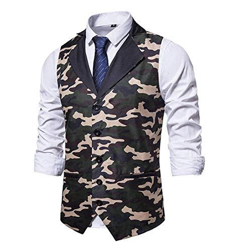 Chaleco casual de camuflaje para hombre Slim Fit Blazers traje de negocios de ajuste regular Chalecos