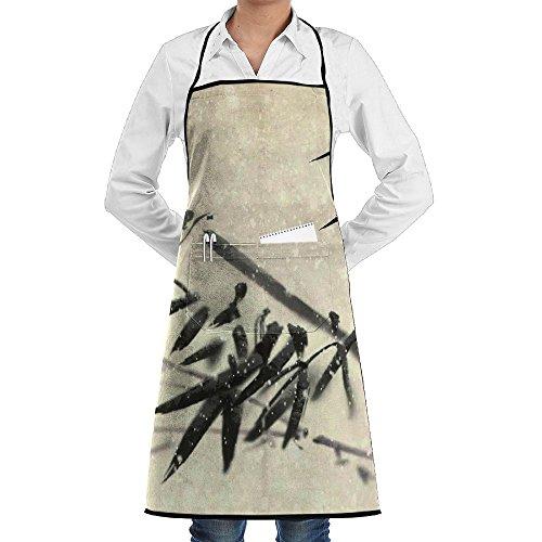 Kitchen Bib Apron Neck Waist Tie Center Kangaroo Pocket Bamboo Vintage Design Waterproof