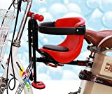 HYMIC Bicycle Baby Seat, Bike Child Seat, Safety Seat for Bikes Kids Safety Carrier Front Seat with Cushion Armrest Saddle Cushion Back Rest Foot Pedals (B-fit for Bikes Without Front Beam)