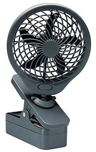 """O2COOL 5"""" Clip On Fan - Powerful D Battery Operated with 2 Speeds (Black)"""