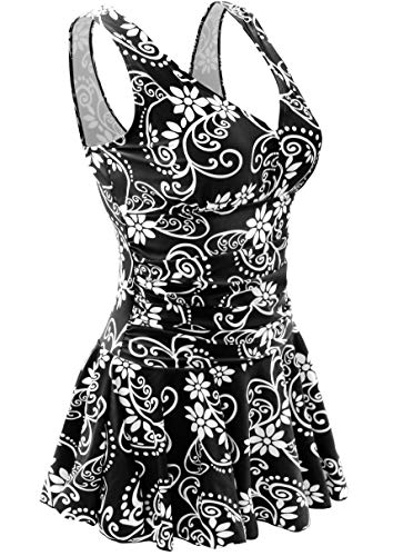 Plus Size Swimdress Full Busted One Piece Vintage Swimsuits for Older Women Bathing Suits Skirts