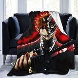 Wmake Daily Street Flannel Fleece Unique Throw Blanket, Japanese Anime Bleach Kurosaki Ichigo Throw for Better Sleep, Easy Care Air Conditioning Blanket 50'X40'