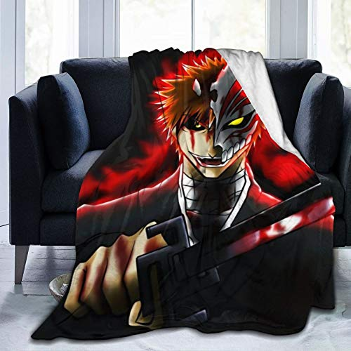 Wmake Daily Street Flannel Plush Funny Throw Blanket, Japanese Anime Bleach Kurosaki Ichigo Throw for All Seasons, Warm Air Conditioning Blanket 80'X60'