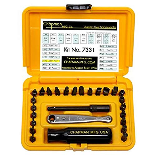 Chapman MFG 7331 All-Purpose Standard Screwdriver Set - Includes Phillips, SAE Allen Hex & Slotted/Flathead Bits - Complete Set Offers 24 USA Made Insert Bits + Mini Ratchet Hand Tool (Yellow Case)