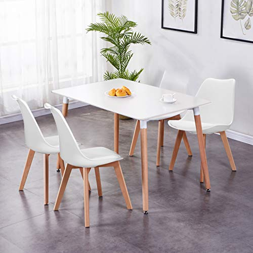 GOLDFAN Esstisch mit 4 Stühlen mit Kissen Moderner 120cm Rechteckiger Hochglanz Küchen Esstisch Holz für Esszimmer Wohnzimmer Büro, Weiß & Weiß