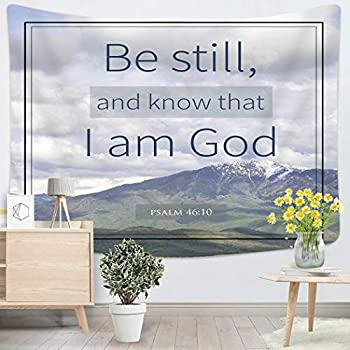 Houlor Tapestry Wall Hanging Quote Psalm 46 10 Bible Verse and Mountain Scripture Christian God Church Faith Art Chakra Polyester Home Decorations For Bedroom Dorm Decor 50 X 60 Inches