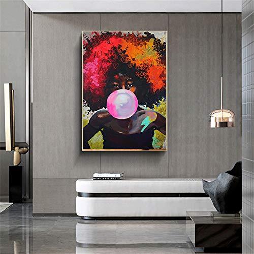 Bunte Graffiti afrikanische Frau Plakate und Drucke Kaugummi Wandkunst Leinwand Malerei Wohnzimmer rahmenlose dekorative Malerei A72 30x40cm