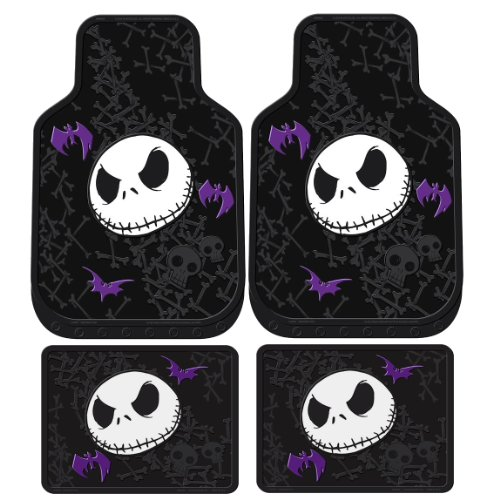 LA Auto Gear Nightmare Before Christmas Jack Skellington Purple Bats and Cross Bones Tim Burton Disney Front & Rear Car Truck SUV Seat Rubber Floor Mats Set - 4PC