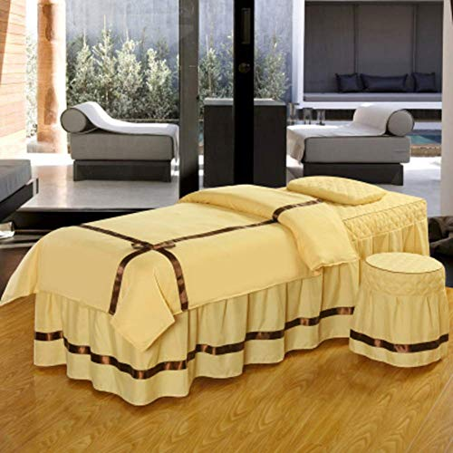 Zairmb 4 piece Luxurious Massage table sheet sets Breathable Non-slip Massage table cover With face rest hole Cotton Beauty bed cover Skin-friendly soft Washable-60x180cm(24x71inch) F1