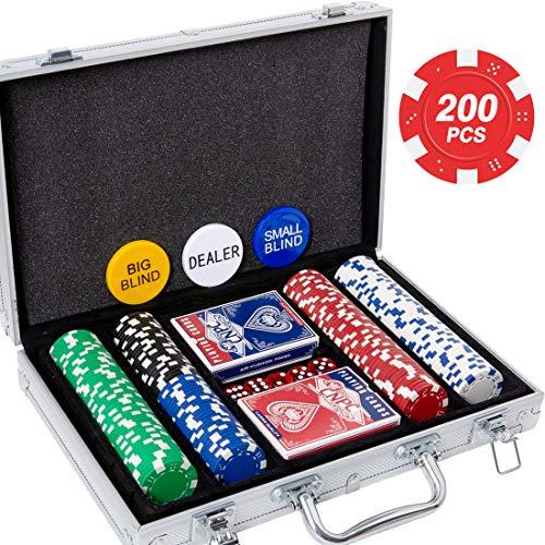 Yinlo Poker Chip Set - 200PCS Poker Set with Aluminum Case, 11.5 Gram Casino Chips for Texas Holdem Blackjack Gambling