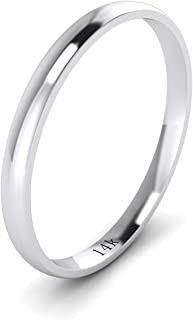 Solid 14k White Rose Yellow Gold 2mm Light Court Shape Comfort Fit Polished Wedding Ring Plain Band