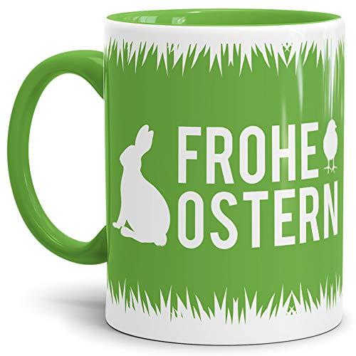 Tassendruck Oster-Tasse Frohe Ostern Innen & Henkel Hellgrün/Ostern/Wiese/Schön/Kaffeetasse/Oster-Geschenk/Beste Qualität - 25 Jahre Erfahrung