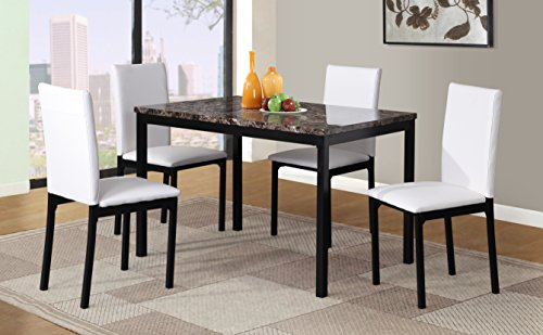 Roundhill Furniture 5 Piece Citico Metal Dinette Set with Laminated Faux Marble Top - White