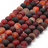 Natürliche Indische Achat Perlen 10mm Frosted Rot Rund Edelsteine Halbedelstein Edelstein...