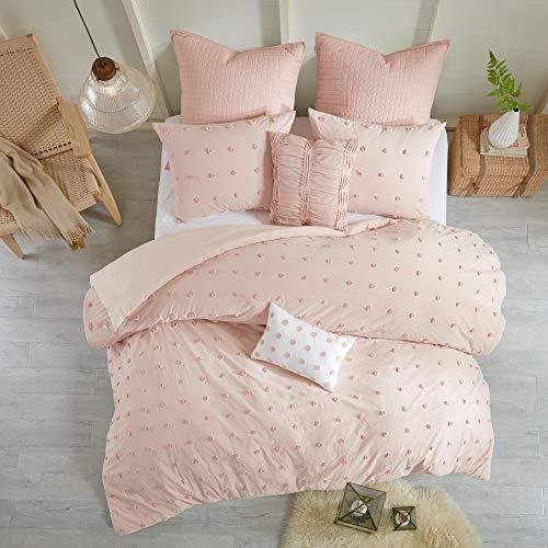 Urban Habitat Brooklyn Duvet Set 100% Cotton Jacquard, Tufts Accent, Embroidered Toss Pillows, Shabby Chic All Season Comfoter Cover, Matching Shams, Bedskirt, Twin/Twin XL(68