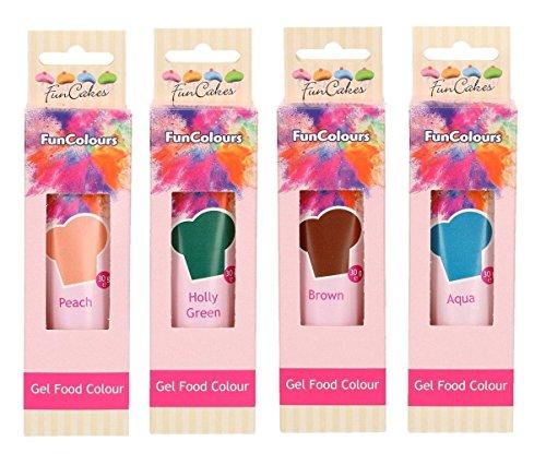 FunCakes - colorante alimentare a colori commestibili 'FunColours' - gel / pasta - set di 4 (120g) - Verde Agrifoglio / Marrone / Acqua / Pesca - per il look unico