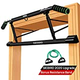 SIEBIRD Pull Up Bar for Doorway with Mount Hook - Chin Up Bar No Screws - Angled Grip Home Gym Exercise Equipment - Portable Pullup Bar Upper Body Workout Bar with Bonus Resistence Band