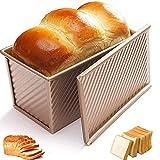 Lady of Luck Moule à Toast, Moules à Pain Rectangulaire Antiadhésif Idéal pour la Cuisson à la Maison Gâteau au Pain Grillé (Doré avec Couvercle)