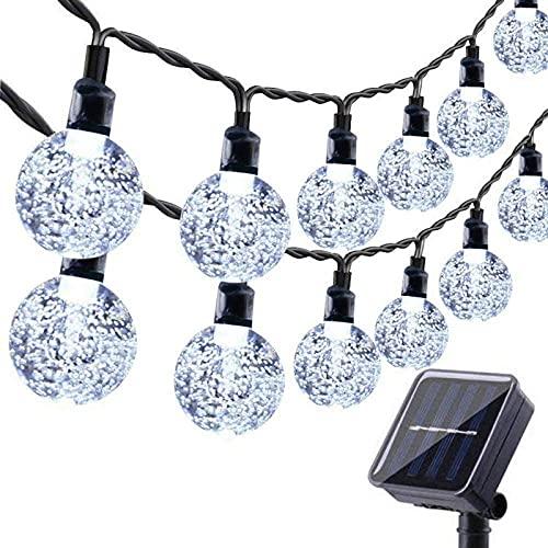 Solar Garden Lights Outdoor, 36ft 60 LED Solar String Lights Waterproof, Solar Powered Crystal Ball Indoor/Outdoor Fairy Lights Decorative Lights for Garden, Patio, Yard, Festival, Parties (White)