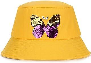 DIEBELLAU Girls Fisherman Hat Lady Summer Simple Joker Cotton Sweat Breathable Sun Hat (Color : Yellow, Size : F)