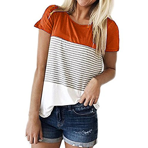 Find Discount iLOOSKR Blouses Short Sleeve Shirt Women's Stripe Sweatshirts T-Shirt(Orange,M)