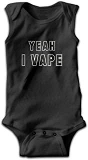 b3df4fe8e43d Dunpaiaa Yeah I Vape Newborn Crawling Suit Sleeveless Romper Bodysuit  Onesies Jumpsuit Black