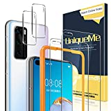 UniqueMe [2 Pack] Protector de Pantalla Compatible con Huawei P40 [2 Pack] Protector de Lente de cámara, Vidrio Templado [9H Dureza] HD Film Cristal Templado