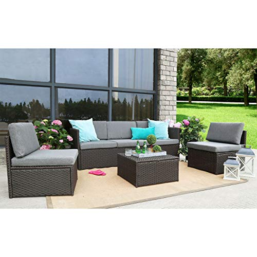 Baner Garden K16CH 4 Piece Complete Outdoor Furniture Seating Patio Resin Wicker Rattan Garden Steel Set with Cushions, Chocolate