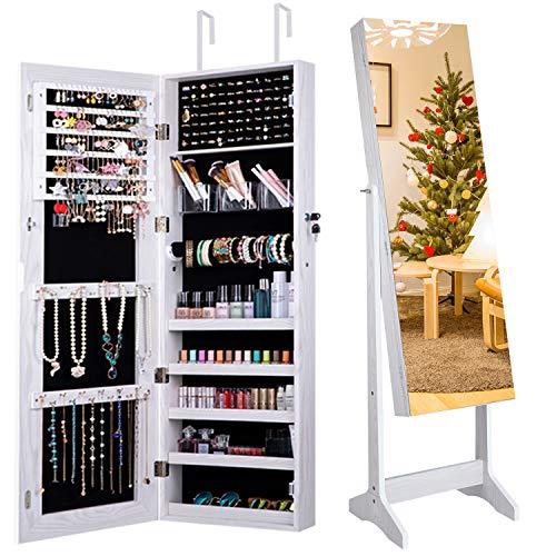 Camabel Schmuckschrank mit Spiegel 152x36.5x10cm Abschließbarer Spiegelschrank Standspiegel mit Innenspiegel und klappbarer Innenablage für Make-up Weiß