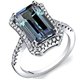 4.25 Carat Simulated Alexandrite Octagon Ring Sterling Silver Size 6