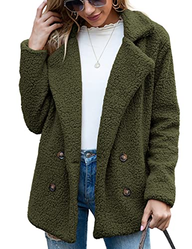 WBYFDC Botones Para Mujer Abrigo De Pelusa Solapa Suéter Suelto Chaquetas Casual Otoño Invierno Sólido Manga Larga Para Mujer