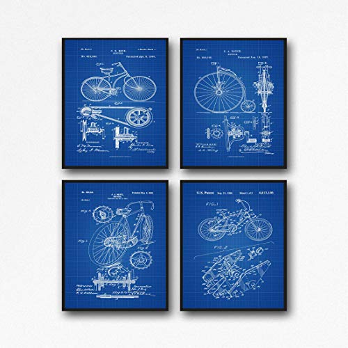 Fahrrad-Poster, Radsport-Dekoration, Fahrrad-Drucke, Wandkunst, Radfahrer-Poster, WB374-WB377, Blueprint, 8 x 10