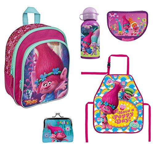 Familando Trolls Rucksack Set 5tlg. mit Brotdose und Trinkflasche z.B. für den Kindergarten Poppy and Friends 7601
